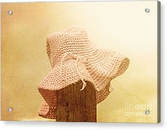 Pink Girls Hat On Farmyard Fence Post Acrylic Print by Jorgo Photography - Wall Art Gallery