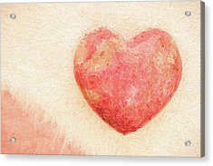Acrylic Print featuring the photograph Pink Heart Soft And Painterly by Carol Leigh