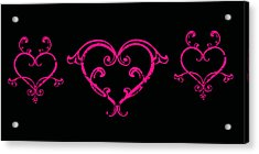 Pink Hearts  Acrylic Print by Swank Photography