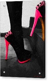 Acrylic Print featuring the digital art Pink Heels by Serge Averbukh