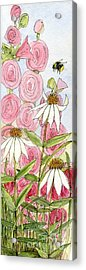 Pink Hollyhock And White Coneflowers Acrylic Print