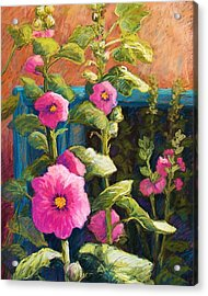 Pink Hollyhocks Acrylic Print by Candy Mayer