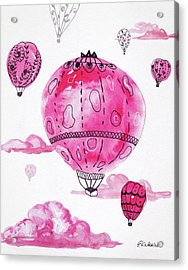 Pink Hot Air Baloons Acrylic Print