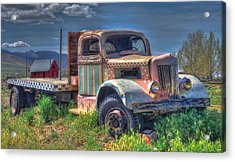 Classic Flatbed Truck In Pink Acrylic Print