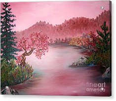 Pink Lake Acrylic Print by Emily Michaud