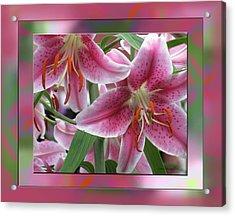 Pink Lily Design Acrylic Print by Debra     Vatalaro