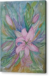 Pink Lily- Painting Acrylic Print by Veronica Rickard