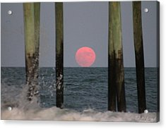 Acrylic Print featuring the photograph Pink Moon Rising by Robert Banach
