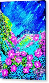 Acrylic Print featuring the painting Pink N Blue by Piety Dsilva