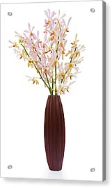 Pink Orchid In Wood Vase Acrylic Print by Atiketta Sangasaeng