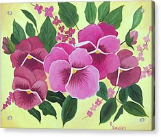 Pink Pansies Sold Acrylic Print by Ruth  Housley