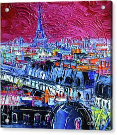 Pink Paris Acrylic Print by Mona Edulesco