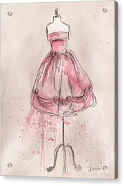 Pink Party Dress Acrylic Print by Lauren Maurer
