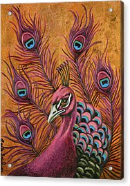 Acrylic Print featuring the painting Pink Peacock by Leah Saulnier The Painting Maniac