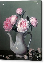Pink Peonies In White Coffeepot Acrylic Print