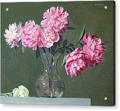 Pink Peonies Walking The Plank Acrylic Print