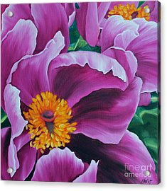 Acrylic Print featuring the painting Pink Peony by Jindra Noewi
