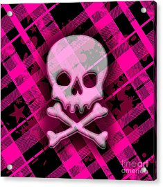 Pink Plaid Skull Acrylic Print by Roseanne Jones