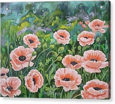 Pink Poppies Acrylic Print by Val Stokes