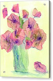 Pink Poppies Acrylic Print by Veronica Rickard