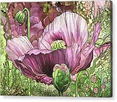 Acrylic Print featuring the mixed media Pink Poppy Garden by Carol Cavalaris