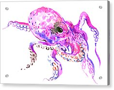 Pink Purple Octopus Acrylic Print by Suren Nersisyan