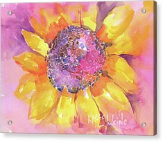 Pink Purple Yellow Sunflower  Acrylic Print