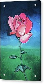 Pink Rose Acrylic Print by Mary Ellen Frazee