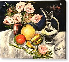 Pink Roses And Fruits Acrylic Print by Bobbie Roberts