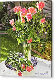 Pink Roses In Glass Acrylic Print by David Lloyd Glover