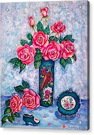 Pink Roses Acrylic Print by Norma Boeckler