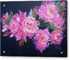 Pink Roses Oil Painting Acrylic Print by Jan Matson