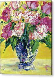 Pink Roses In Blue Deft Vase Acrylic Print