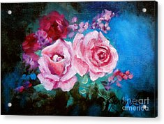 Pink Roses On Blue Acrylic Print by Jenny Lee