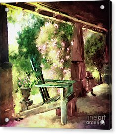 Acrylic Print featuring the digital art Pink Roses On The Porch by Lois Bryan