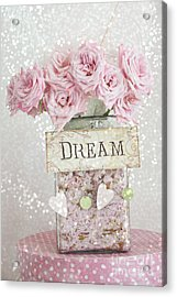 Shabby Chic Dreamy Pink Roses - Cottage Chic Pink Romantic Roses In Jar  - Dream Roses Acrylic Print by Kathy Fornal