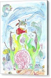 Pink Scalop Sea Creatures Acrylic Print