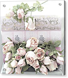 Acrylic Print featuring the photograph Pink Shabby Chic Roses On Pink Cottage Books - Shabby Cottage Pink Roses Home Decor by Kathy Fornal