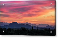 Acrylic Print featuring the photograph Pink Silhouette Sunset  by Saija Lehtonen