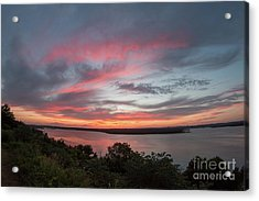 Pink Skies And Clouds At Sunset Over Lake Travis In Austin Texas Acrylic Print