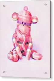 Acrylic Print featuring the digital art Pink Sock Monkey by Jane Schnetlage