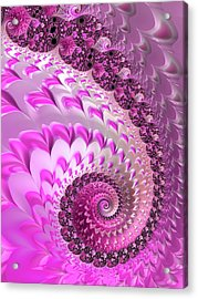 Pink Spiral With Lovely Hearts Acrylic Print