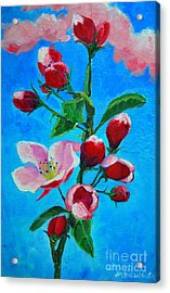 Acrylic Print featuring the painting Pink Spring by Ana Maria Edulescu