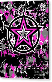 Pink Star Graphic Acrylic Print by Roseanne Jones