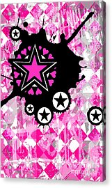 Pink Star Splatter Acrylic Print by Roseanne Jones
