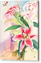 Acrylic Print featuring the painting Pink Stargazer Lilies by Nancy Watson