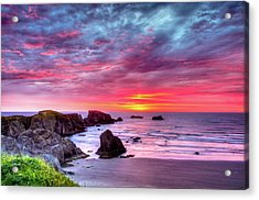 Pink Sunset Bandon Oregon Acrylic Print by Connie Cooper-Edwards