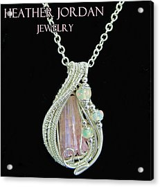 Pink Tourmaline And Sterling Silver Wire-wrapped Pendant With Ethiopian Welo Opals Ptrmpss1 Acrylic Print