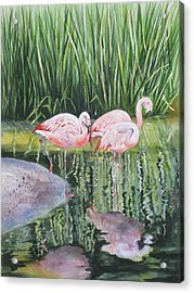 Pink Trio Acrylic Print by Mary McCullah