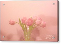 Pink Tulips On Pink Acrylic Print by Marsha Heiken